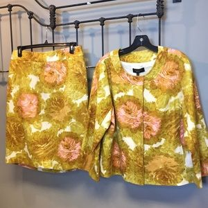 NWT Talbots Floral Print Button Jacket & Skirt 14